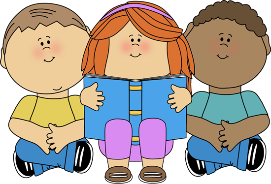 Kids Reading Clip Art Image - kids sitting together reading a book.
