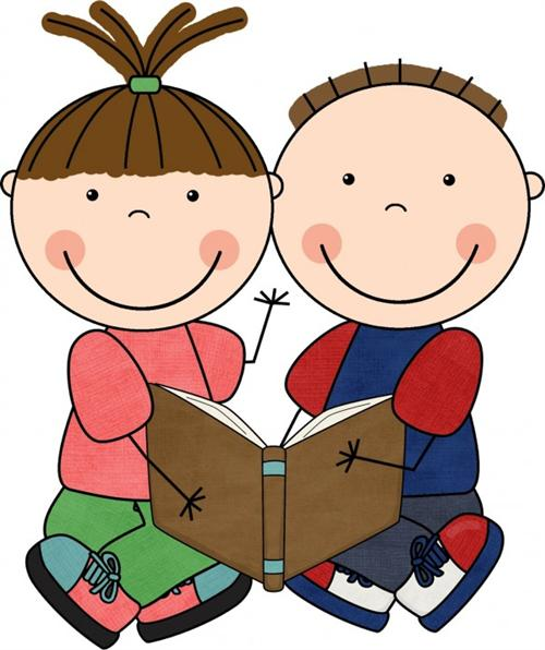 Kids Reading Clipart - JPEG Image #12481