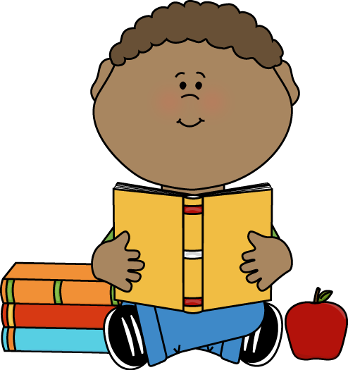 Little Boy Reading a School Book Clip Art