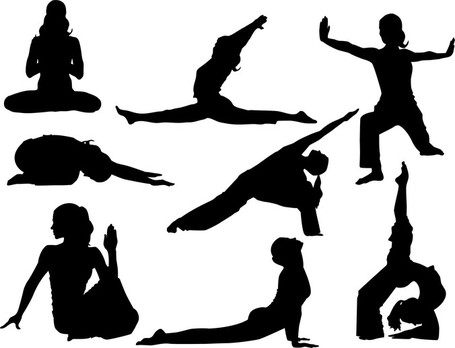 Kid with Rainbow; Yoga Silhoutte Vector Poses