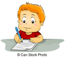 ... Kid Writing on Paper - Illustration Featuring a Kid Writing.