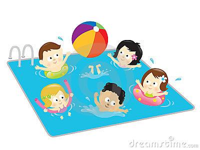 kids swimming clipart