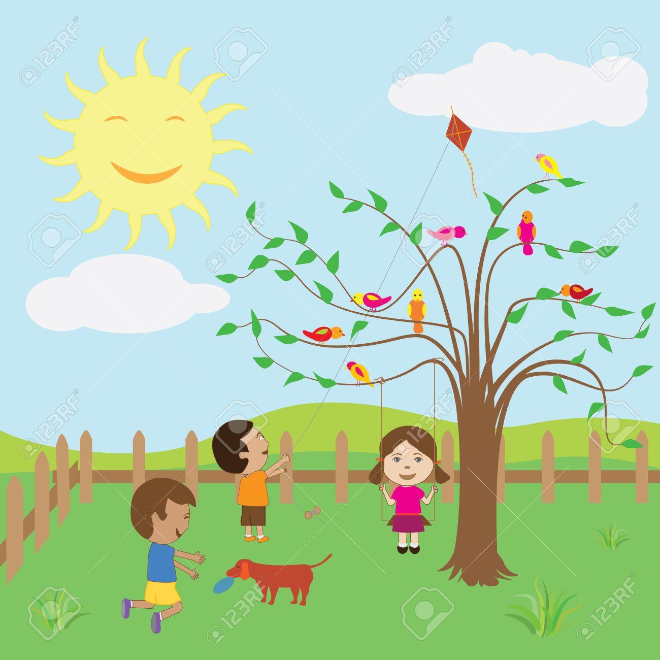Kids enjoying the sunny day at .