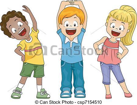 ... Kids Exercise - Illustration of Kids Exercising