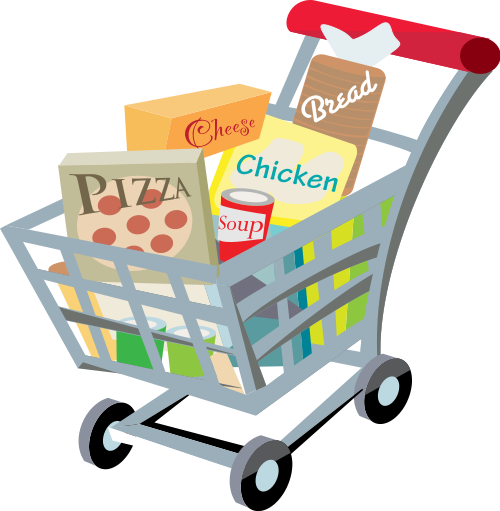 Kids Grocery Shopping Clipart. File:Shopping cart with food .