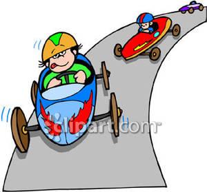 Kids In a Soap Box Car Race .