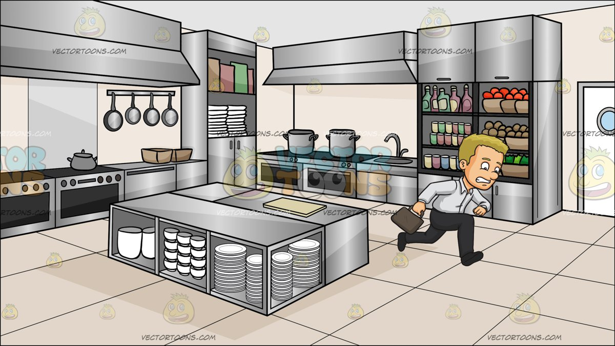 A Man Late For Work At A Kitchen Restaurant