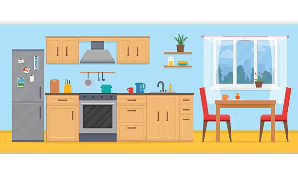 Kitchen with furniture set. v - Kitchen Clipart