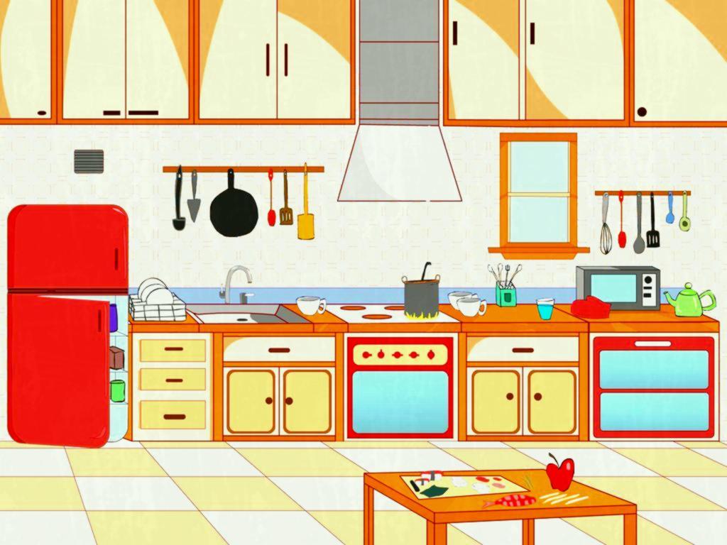 Kitchen with furniture set. v