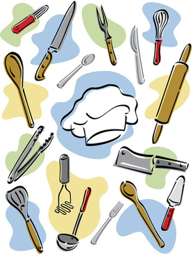 hand drawn kitchen tools desi - Kitchen Tools Clipart