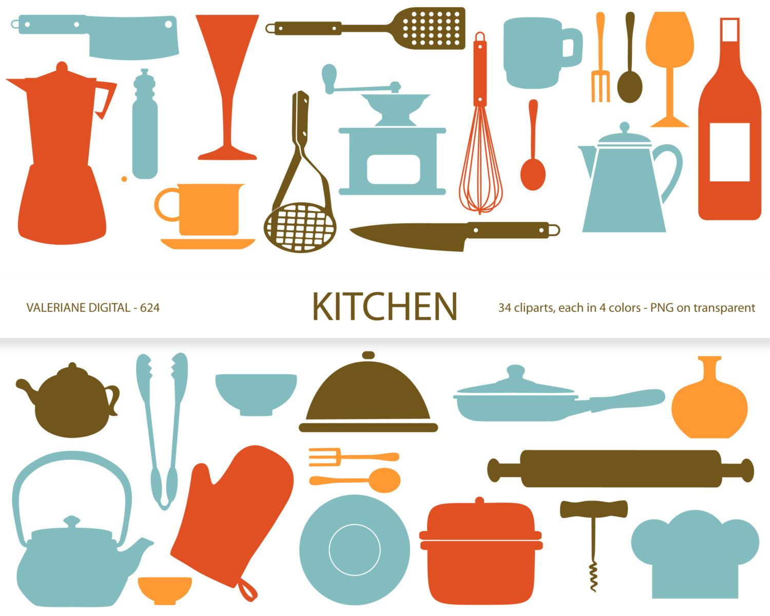 Kitchen Clipartu0027s, Retro Kitchen Utensils, Scrapbook Supplies, Clipart, Clip  Art, Instant