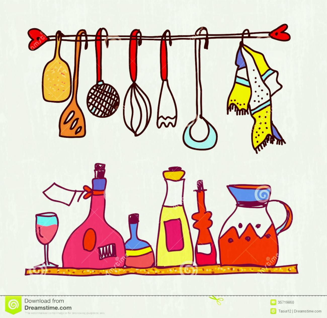 Kitchen Utensils Clipart Cute Cooking