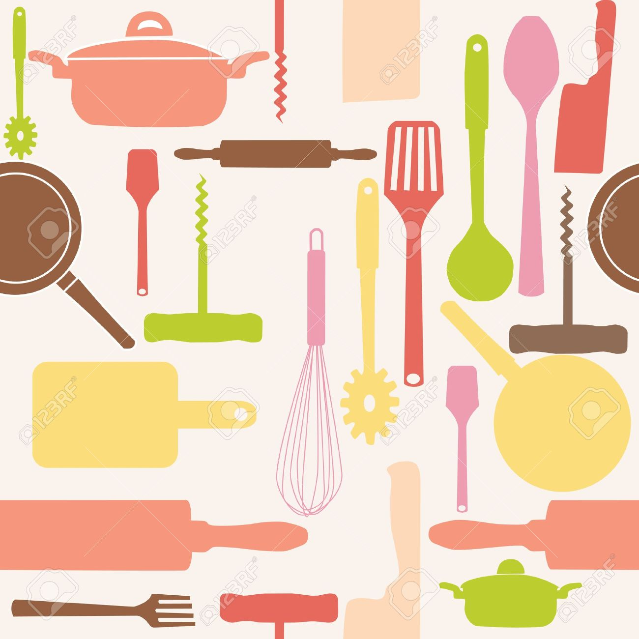 Vector - Vector seamless patt - Kitchen Tools Clipart