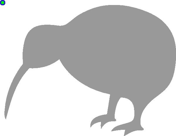 Grey Kiwi Bird clip art