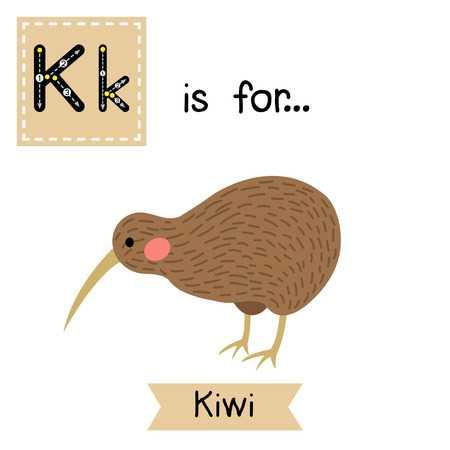 Kiwi bird. Cute children zoo alphabet flash card. Funny cartoon