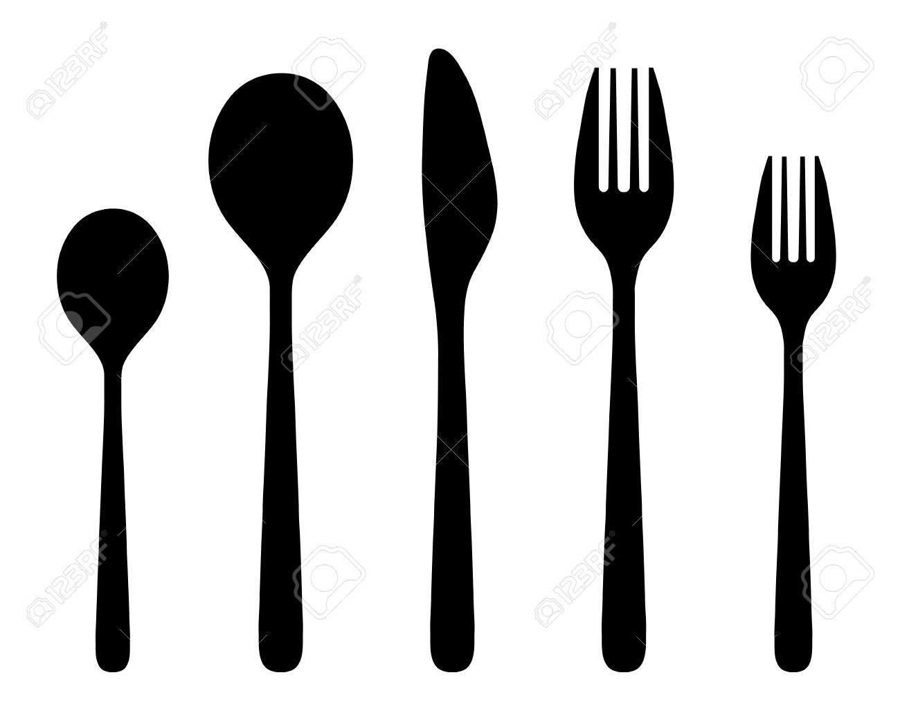 Black silhouettes of knife, fork and spoon, vector Stock Vector - 29531605
