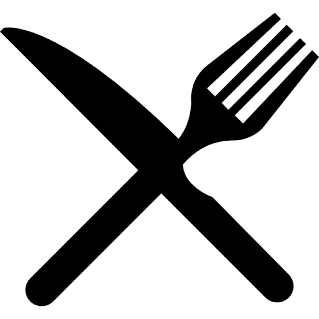 Fork and knife in cross Free Icon