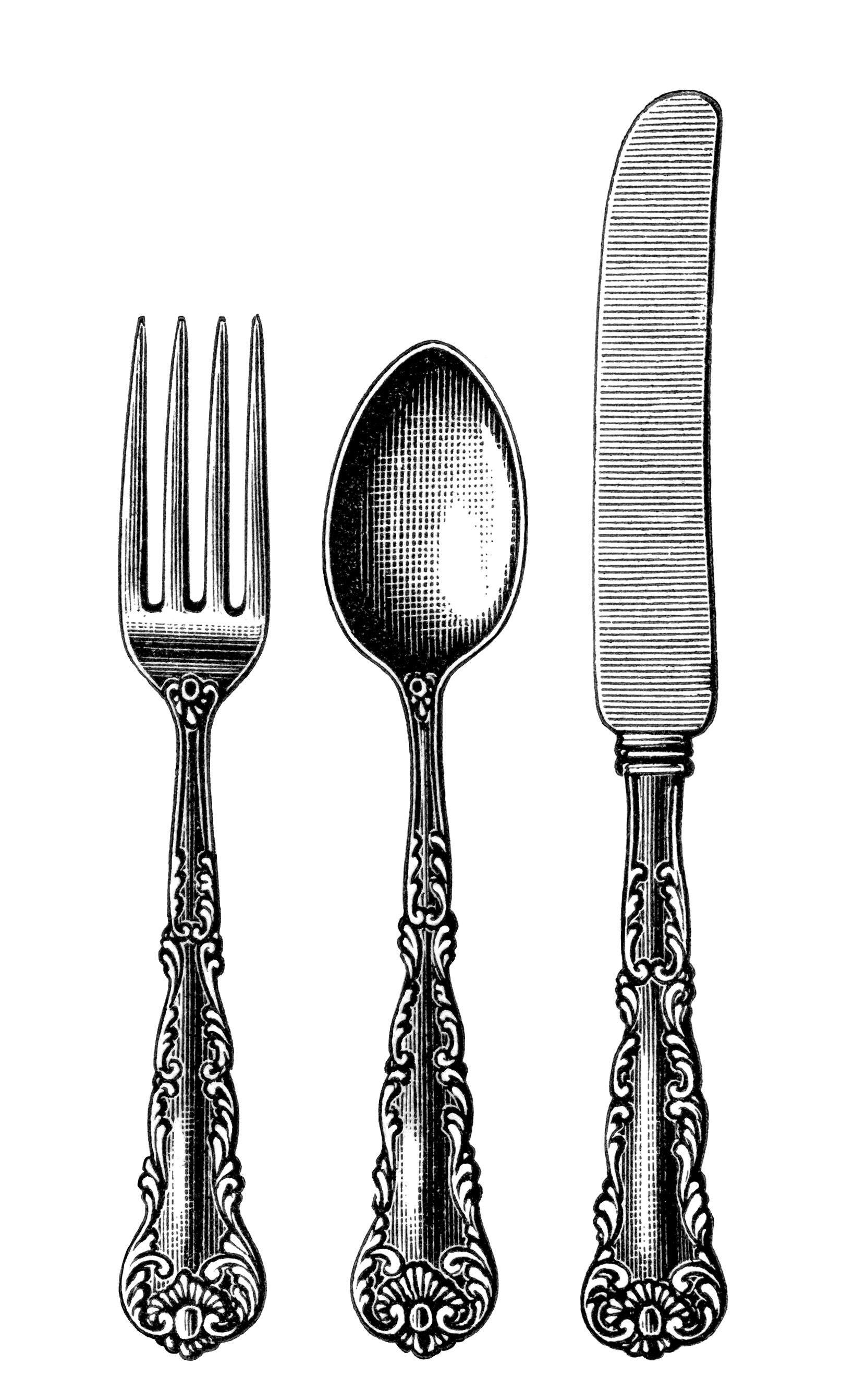 Free Knife And Fork Clipart 2 Vintage Fork Clipart for your creation.