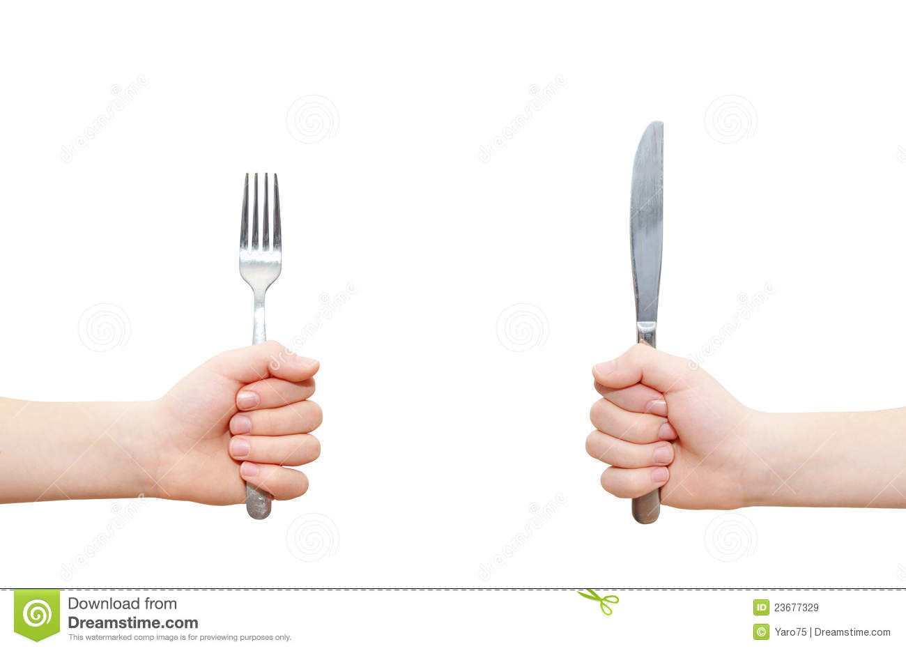 Two hands holding fork and knife