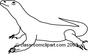 Animals : komodo_dragon_bw_2 : Classroom Clipart