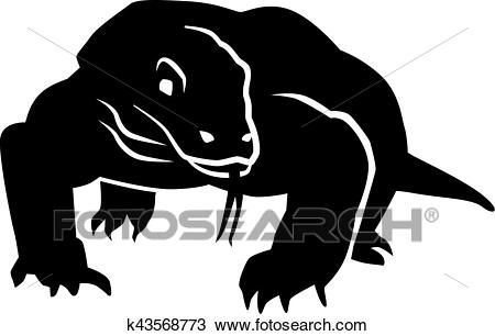 Clipart - Komodo dragon front. Fotosearch - Search Clip Art, Illustration  Murals, Drawings