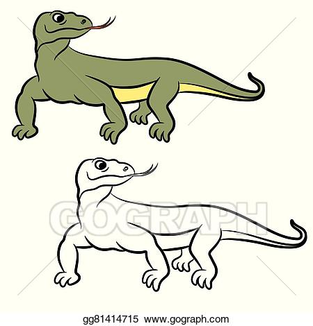 Vector Art - Illustration of varan (komodo dragon). coloring book. EPS  clipart gg81414715