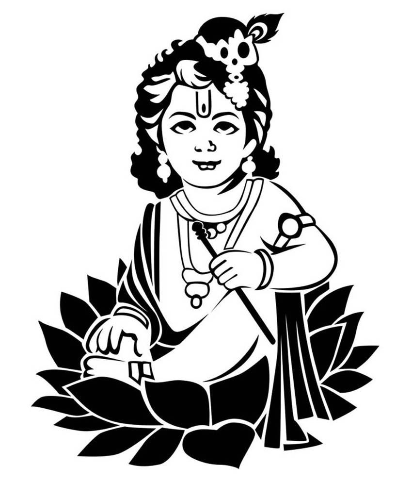 850x995 krishna line drawing