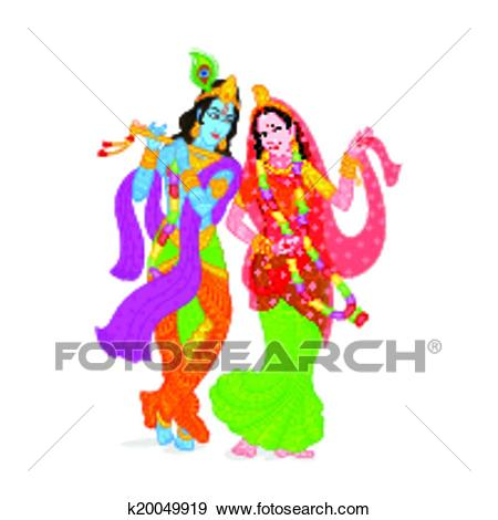 Clip Art - Lord Krishna and Radha. Fotosearch - Search Clipart,  Illustration Posters,