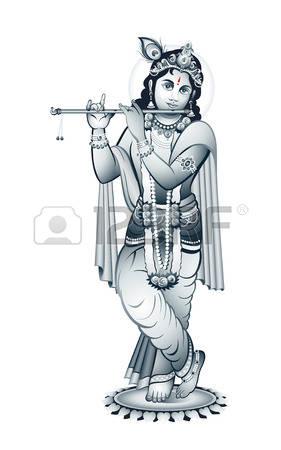 Hindu young god Krishna playing on flute Illustration