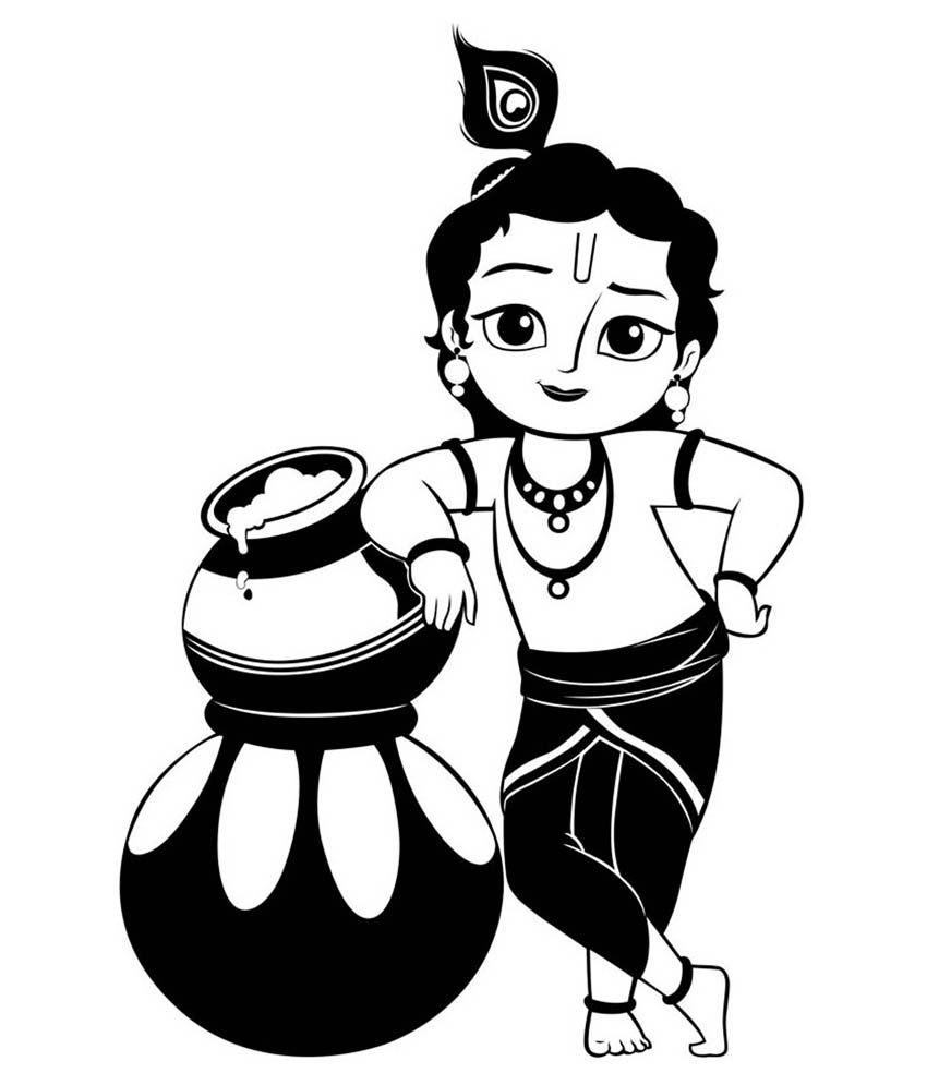 krishna clipart black and white 8