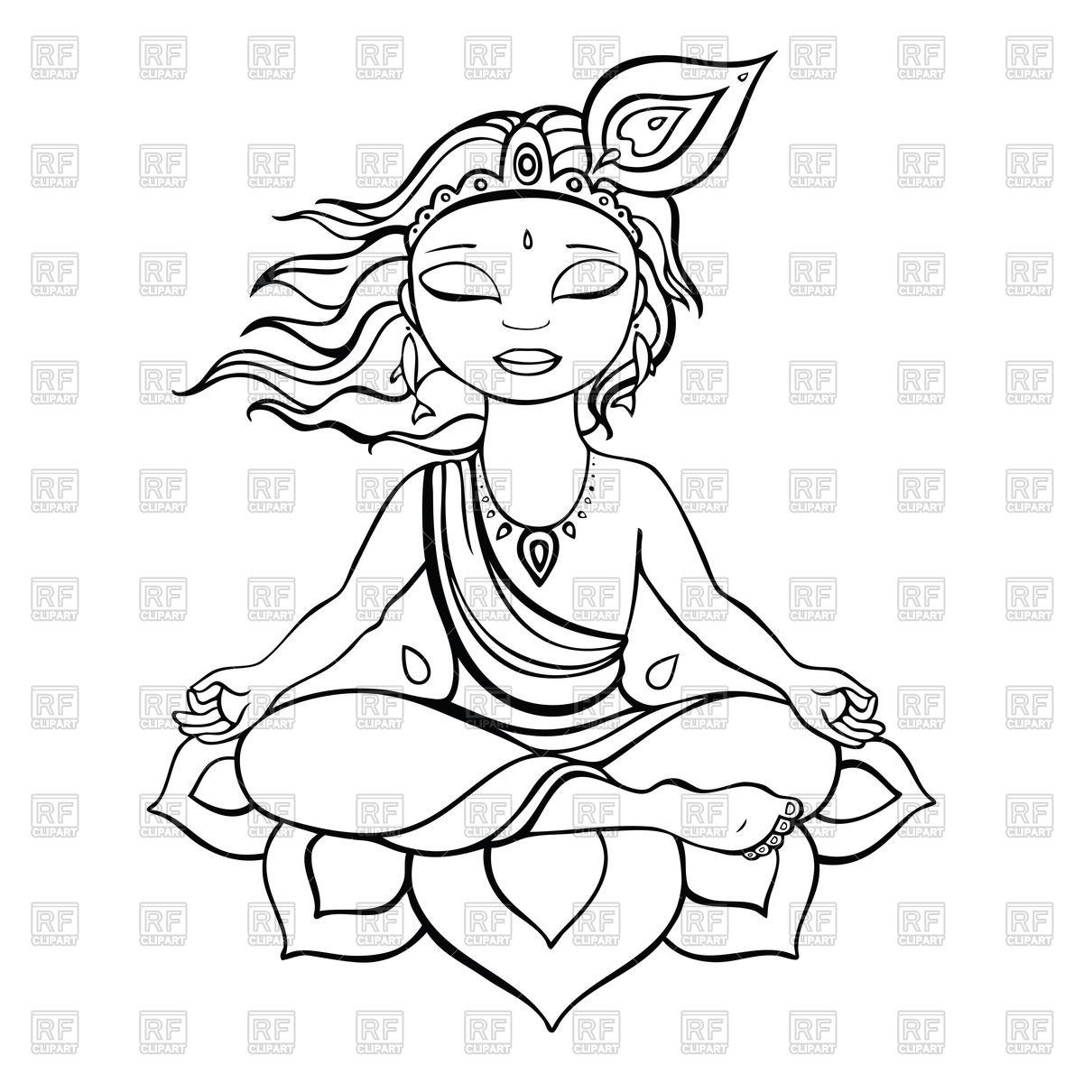 Sketch of meditating Krishna Royalty Free Vector Clip Art