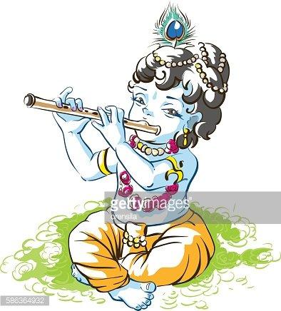 Tanrı Krishna Janmashtami. Çocuk çoban oynarken flüt