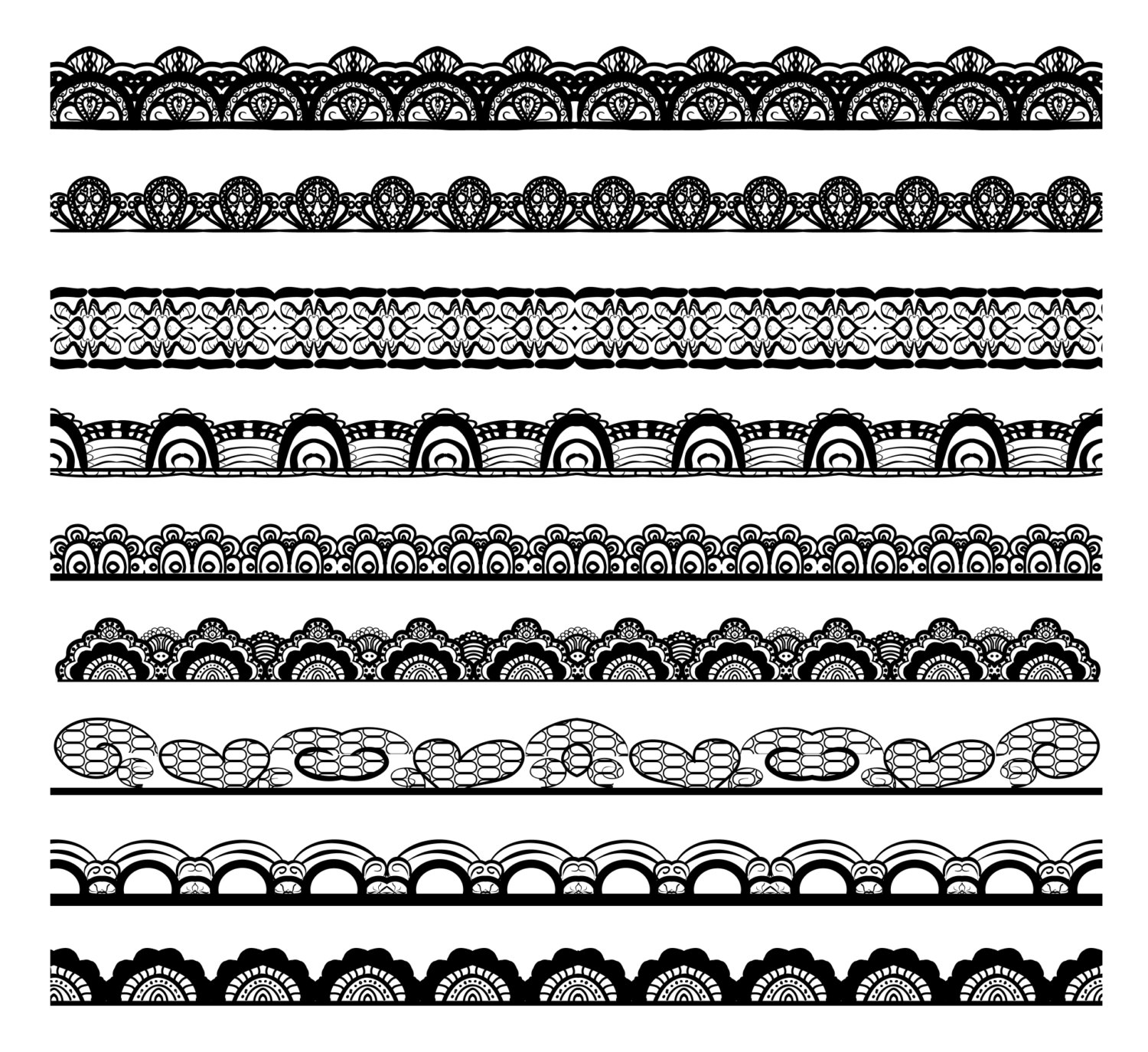 Lace Border Clip Art, Digital Clipart, lace digital clipart, Black border clipart, White Lace clipart, Personal and Commercial Use