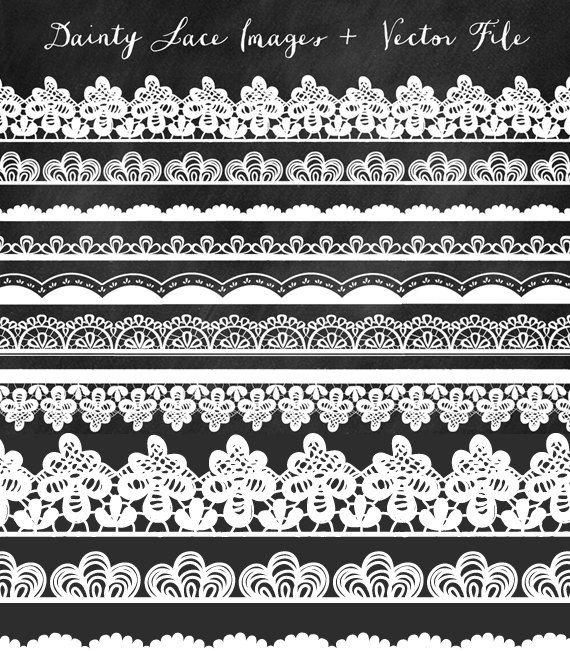 Lace Clip Art Border Clip Art Lace Trim and by FieldandFountain