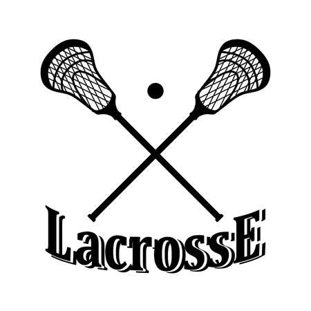 Crossed Lacrosse Stick And Ball. Illustration