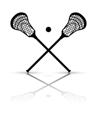 Crossed lacrosse stick and ba - Lacrosse Clipart