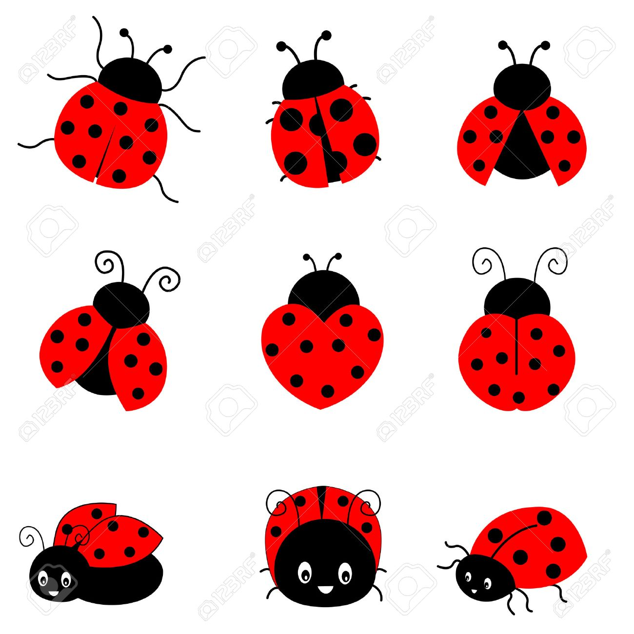 Cute colorful ladybugs clipart collection isolated on white background  Stock Vector - 38748262