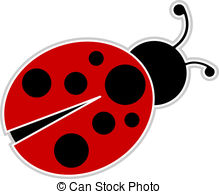 Ladybug - Classic red and black Ladybug outlined and.