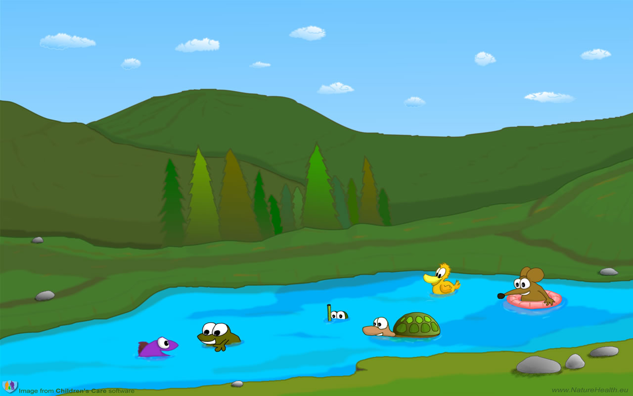 Kids playing in lake clipart