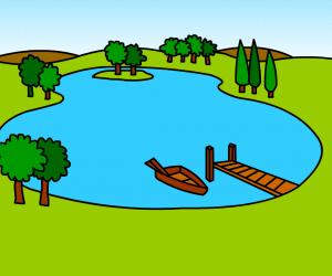 Lake Clipart Nature Scene Of And Park Stock Vector