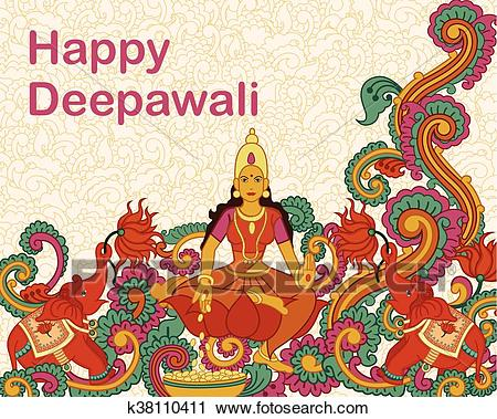 Clipart - Goddess Lakshmi for Diwali prayer. Fotosearch - Search Clip Art,  Illustration Murals