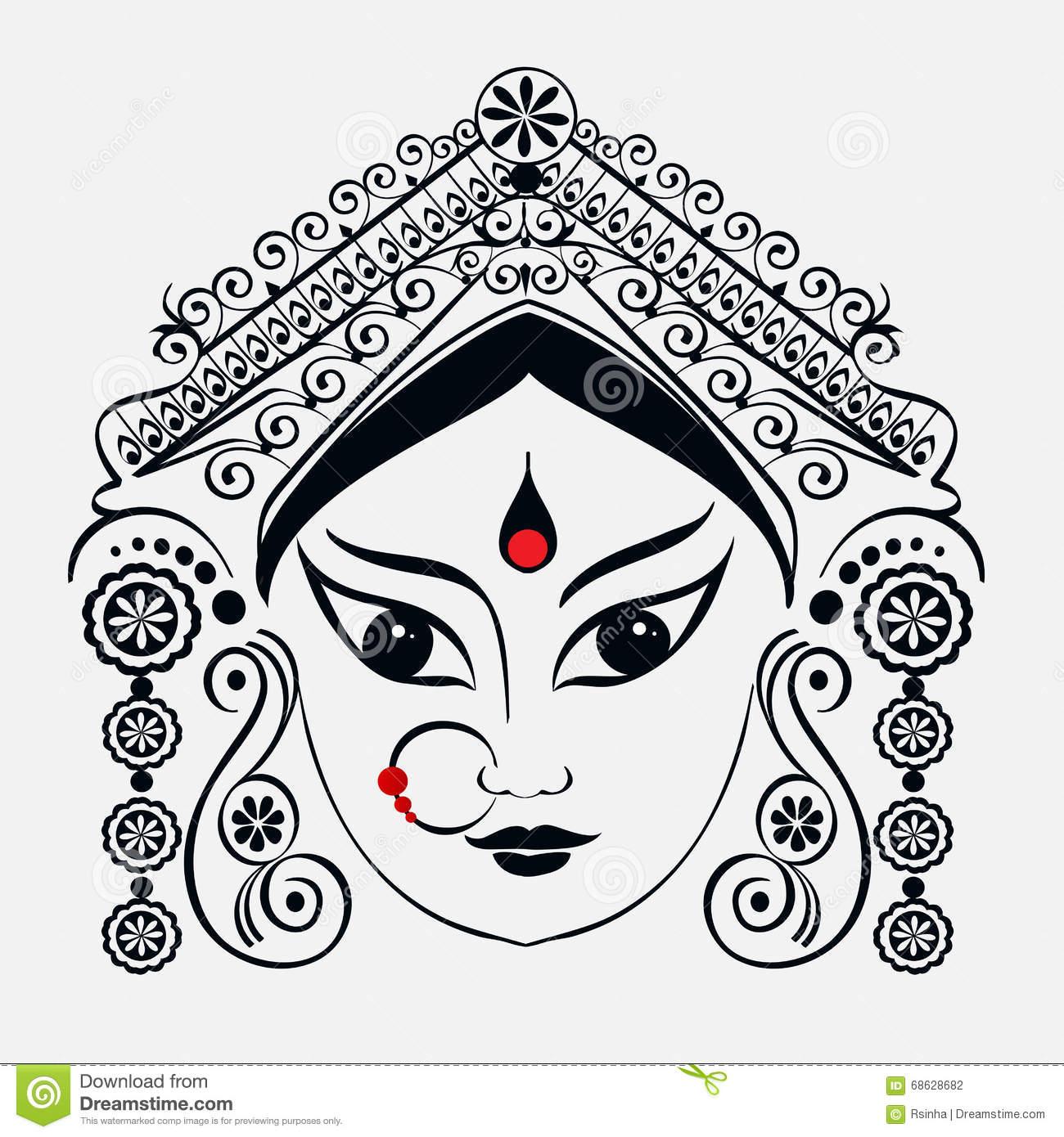 Durga, Saraswati, Lakshmi in hand drawn style Stock