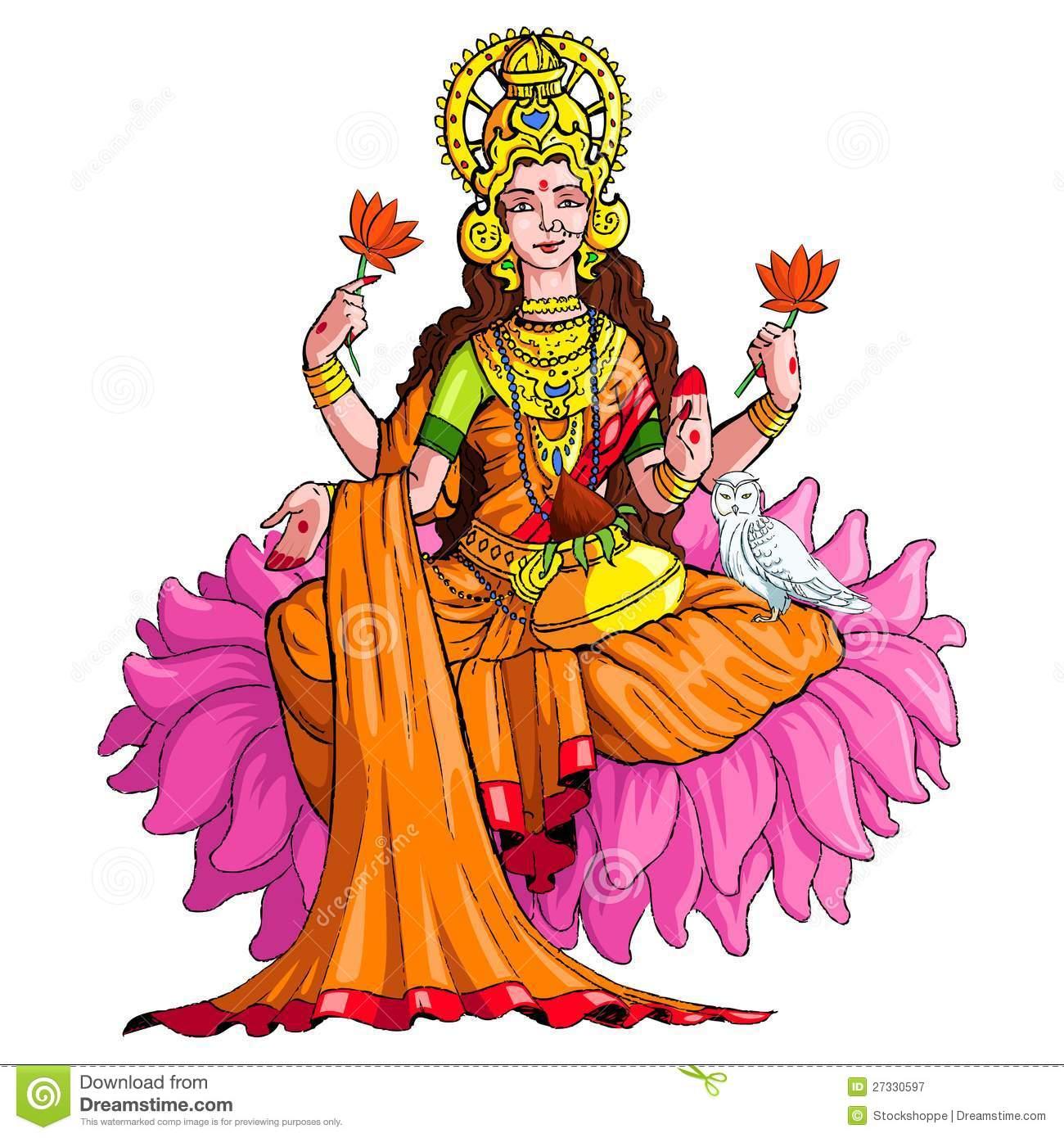 Goddess Lakshmi. Vector illustration of godess lakshmi against white  background Royalty Free Stock Photography