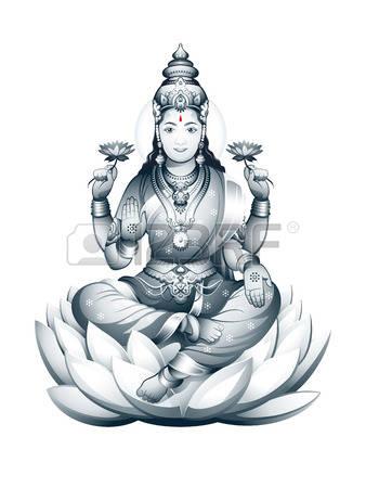 Hindu Goddess Lakshmi of wealth, prosperity, fortune, and the embodiment of  beauty Illustration