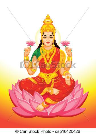 Indian Goddess Lakshmi Vector