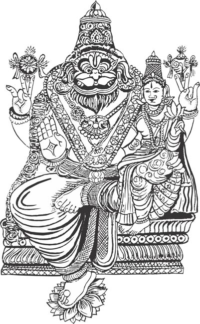 Lakshmi narasimar indian god vector clipart