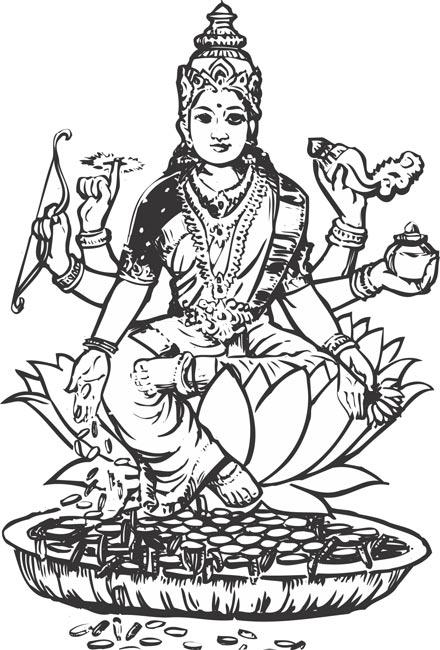 Lord gayathri indian god vector clipart