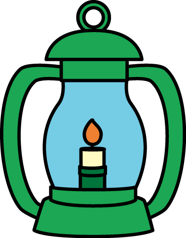 Lantern Clip Art Image - green lantern with a handle and a lit flame