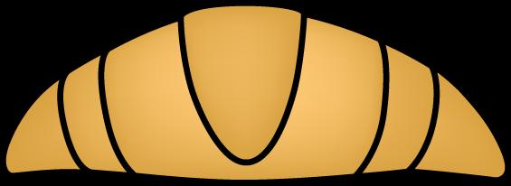 Large Croissant - clip art image of a large brown croissant with a black outline.