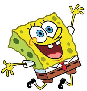 Larger image Sponge Bob celebrating on white background, free celebration clipart.